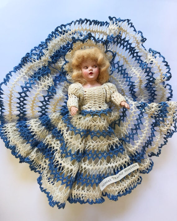 Vintage Hard Plastic Duchess Doll - In Unique Hand Crocheted Ball Gown - Colonial Miss of Virginia