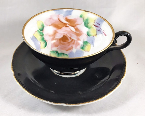 Vintage Wales China Made in Japan Hand Painted Black Floral Teacup and Saucer - Pink Rose