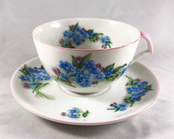 "Vintage Norcrest ""Forget-Me-Nots"" Teacup & Saucer - Made in Japan"