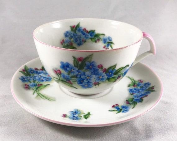 """Vintage Norcrest """"Forget-Me-Nots"""" Teacup & Saucer - Made in Japan"""
