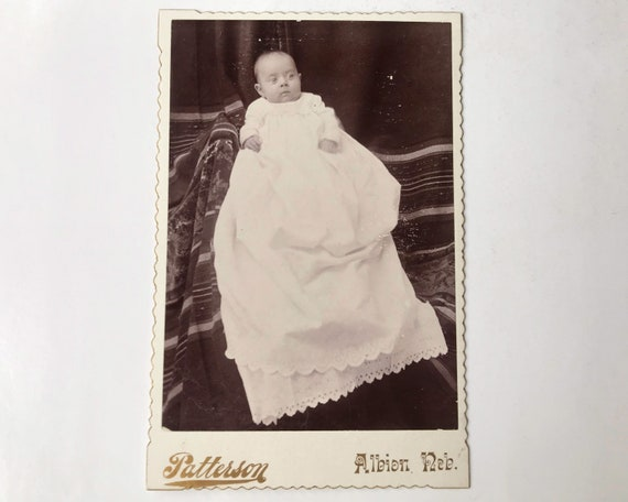 Antique Cabinet Card of Baby in Christening Gown, Patterson, Albion, Nebraska
