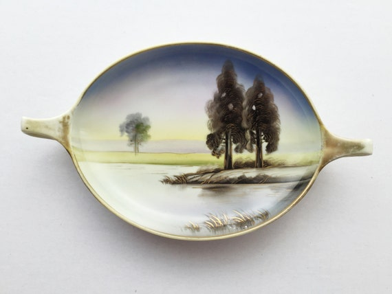 Antique Hand Painted Nippon Small Serving Bowl with Handles - Landscape and Lake Scene with Gold Gilt Accents - Morimura Bros