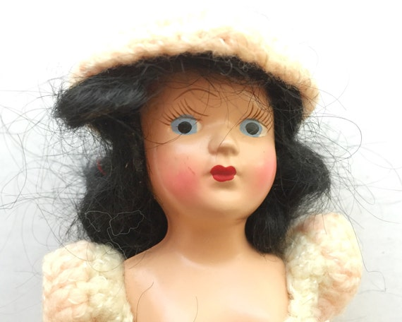 Vintage Hard Plastic Virga Doll - Cute Dark Haired Beauty in Hand Crocheted Outfit - Ontario Plastics