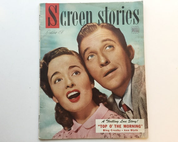 Screen Stories Magazine October 1949 - Cover Bing Crosby and Ann Blyth - Vintage Movie Magazine - Inside White Heart & Katherine Grayson