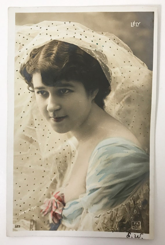 Antique French Real Photo Post Card - Hand Tinted - Beautiful French Actress Lely by Photographer Edouard Stebbing