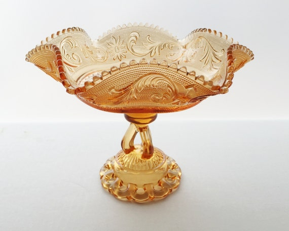 Vintage Westmoreland Glass Compote - Princess Feather Pattern Rare Golden Sunset Color with Doric Border Pedestal