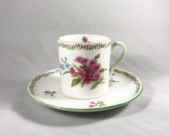 """Vintage Shelley """"Stocks"""" Demitasse and Saucer - Pretty Floral Pattern on White Bone China"""