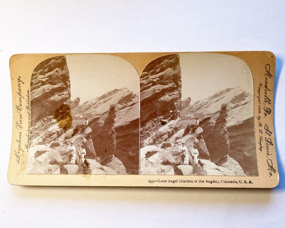 Early Keystone View Co Stereoview of Lone Angel (Garden of the Angels), Colorado, USA - Copyright 1896 by B. L. Singley - 2359