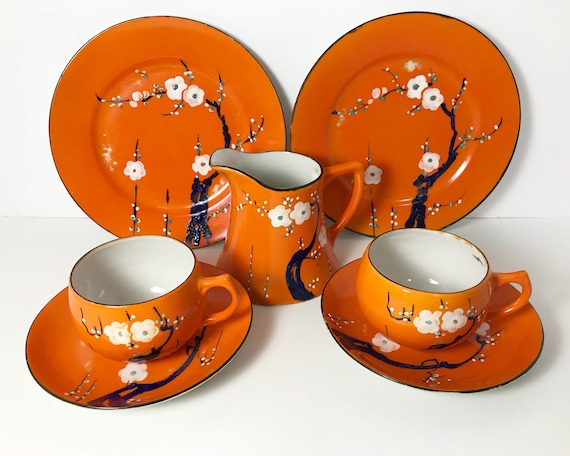 Vintage Hand Painted Made in Japan Orange Sakura 2 Person Tea Set - Creamer, Teacups and Snack Plates - Cherry Blossom