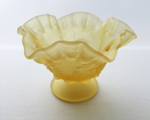 Vintage Westmoreland Paneled Grape Yellow Mist Satin Glass Candy Dish or Footed Compote