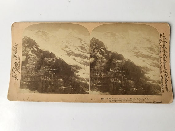 Antique Stereoview of Jungfrau, Queen of the Alps, Switzerland, J. F. Jarvis, Publishers, Copyright 1907