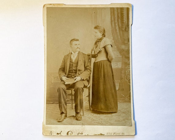 Antique Cabinet Card of Young Victorian Married Couple