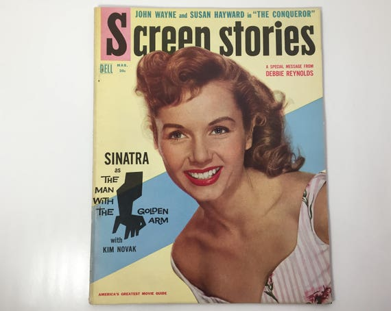 Screen Stories Magazine March 1956 - Cover Debbie Reynolds - Vintage Movie Magazine - Inside Frank Sinatra, Kim Novak, and Carousel