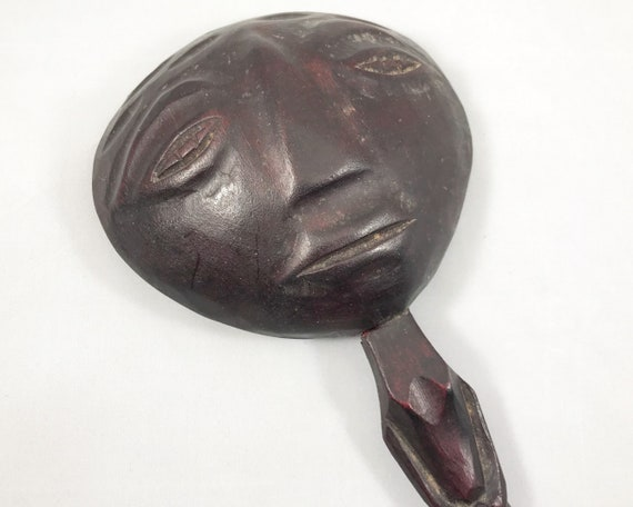 Vintage Mid Century African Folk Art Anthropomorphic Wooden Spoon or Ladle