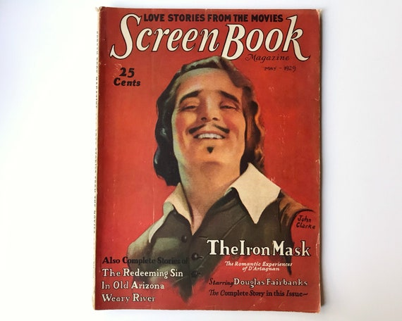 Screen Book Magazine May 1929 - Cover Douglas Fairbanks - Vintage Movie Magazine - Inside Greta Garbo, Billie Dove, George Duryea