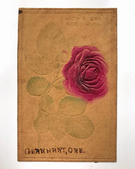 Antique Leather Postcard - Gearhart, Oregon with Pink Rose - Undivided Back