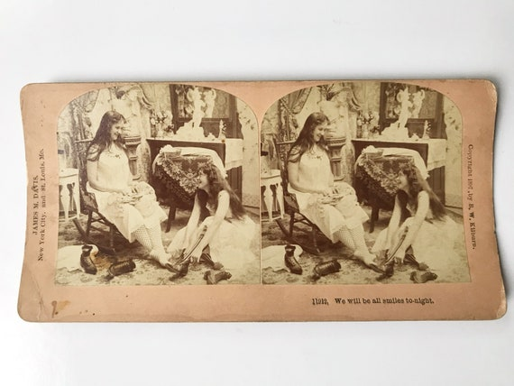 "Antique B. W. Kilburn Sepia Stereoview - Naughty Two Girls ""We Will Be All Smiles Tonight"" - James M. Davis - Copyright 1897"