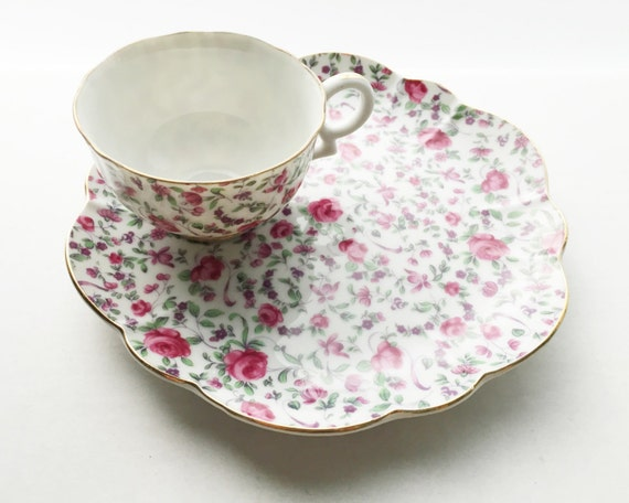 Vintage Chintz Teacup and Sandwich Plate Set - Pink Roses Floral Chintz Pattern Made by Yada China of Japan - Snack Service (2 available)
