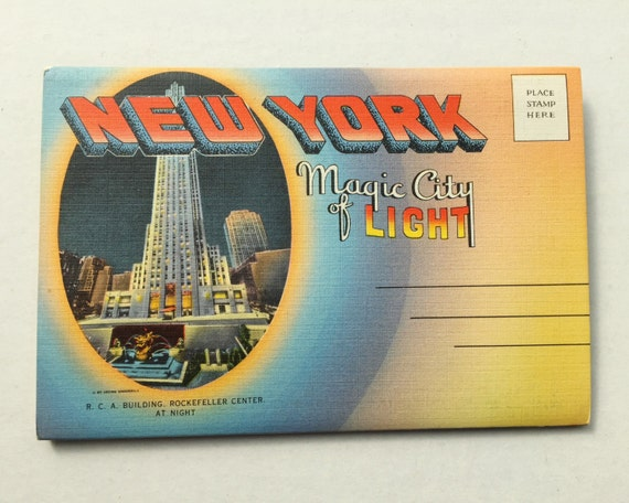 Vintage New York Magic City of Light MultiView Folding Postcard -1940s