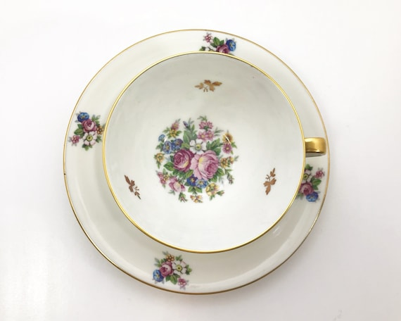 Vintage Chastagner Limoges Teacup and Saucer - Charming Floral Pattern with Cabbage Roses - French Porcelain
