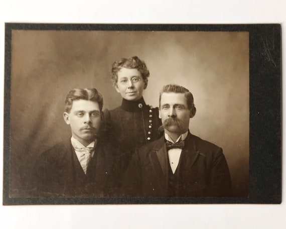 Antique Victorian Cabinet Card of Mother, Father and Son