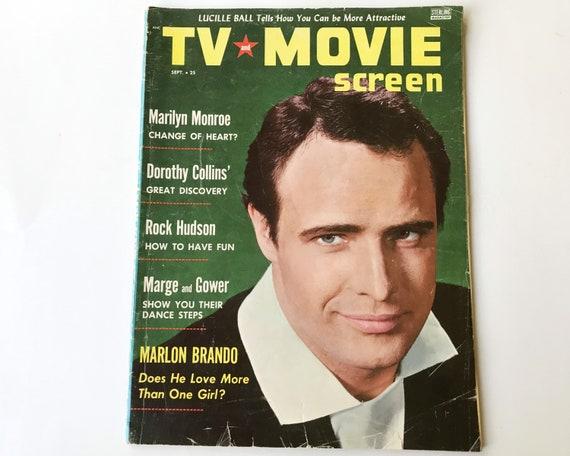 Vintage TV and Movie Screen Magazine September 1955 - Cover Marlon Brando - Inside Rock Hudson, Marlon Brando, Lucille Ball, Marilyn Monroe