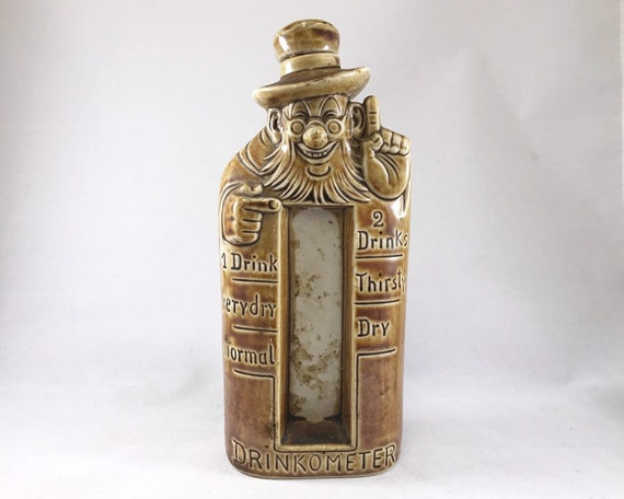 Vintage Schafer and Vater Drinkometer - Comical Figural Nip Bottle