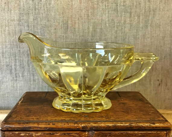 Vintage Elegant Glass - Heisey Glass Old Sandwich Sahara Yellow Creamer and Sugar