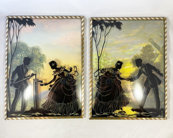 Vintage Silhouette Pictures on Glass - Set of Two Bubble or Convex Glass - Edwardian Style Pastoral Scene