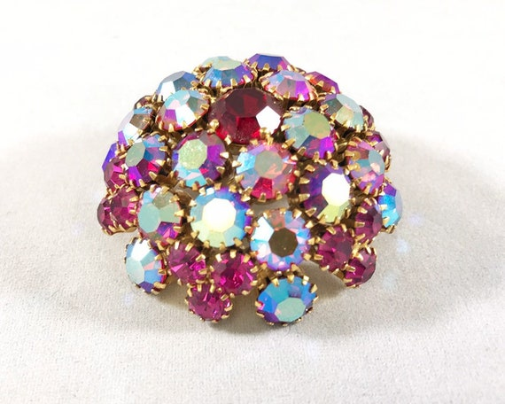 Vintage Mid Century Warner Signed Jewelry Brooch - Large Domed Brooch in Iridescent Aurora Borealis Pink and Blue