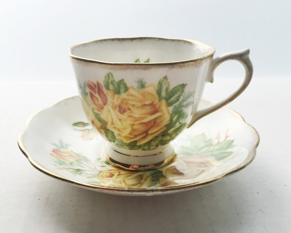 Vintage Royal Albert Bone China Teacup and Saucer - Tea Rose Pattern - Gold Trim with Yellow Roses - 1940s - English China
