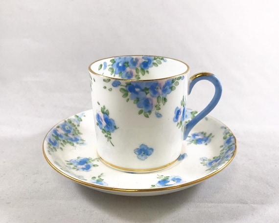 Vintage Crown Staffordshire Blue & Pink For-Get-Me-Not Demitasse and Saucer - English Bone China - Espresso Cup - Pattern F14895