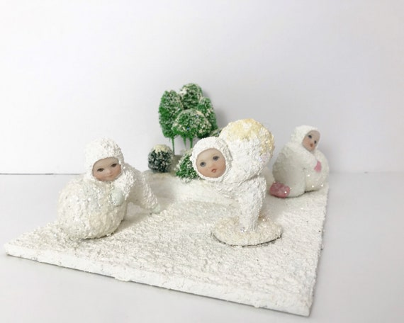 Vintage Snowbaby Scene - Three Snow Babies with Snow and Trees - Hand Made in 1997