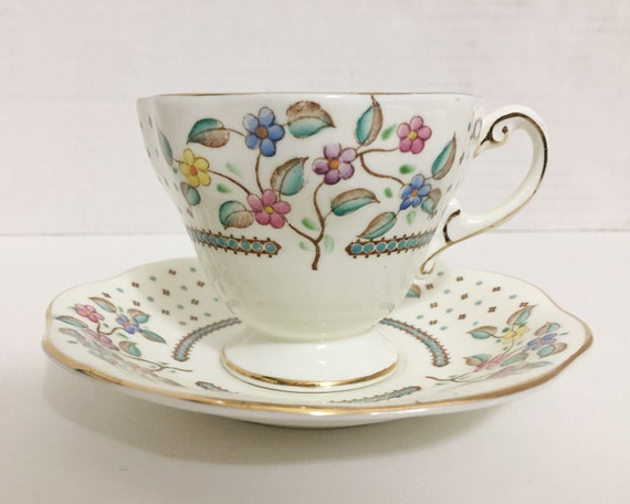 Vintage E.B. Foley Bone China Floral Teacup and Saucer - Sweet Pattern of Flowers with Abstract Turquoise Trim from the 1930s