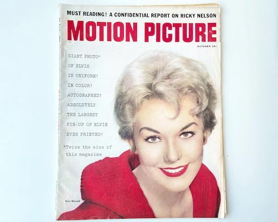Motion Picture Movie Magazine Oct 1958 - Cover Kim Novak - Inside Sandra Dee, Rock Hudson, Ricky Nelson and Fold Out Elvis Poster