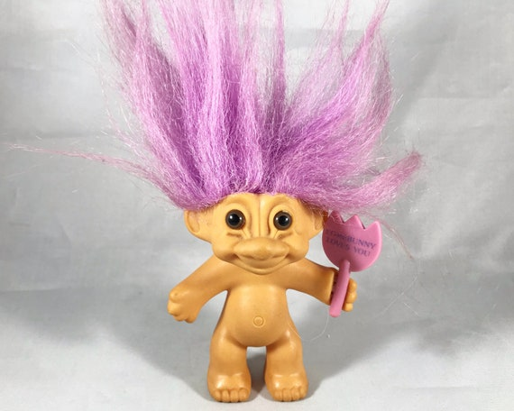 "Vintage Russ Troll Doll - ""Some Bunny Loves You"" with Pink Lavender Hair and Bunny Tail"