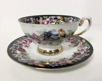 Vintage Floral Teacup and Saucer - Made in Japan - Bouquet D'Amour - Black Border