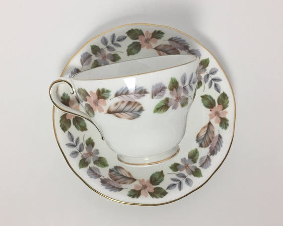 Vintage Aynsley China April Rose Teacup and Saucer - English Bone China - Lovely Mid Century Pastel Floral Pattern