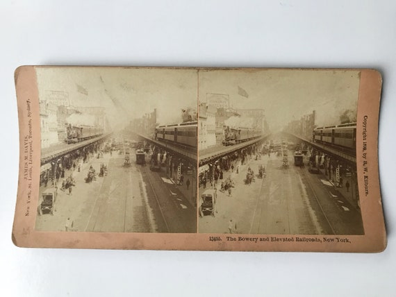 Antique B. W. Kilburn Stereoview - The Bowery and Elevated Railroads, New York with Steam Engine - James M. Davis - Copyright 1899