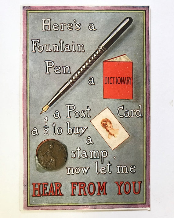 Antique Postcard - PPC Philco Fountain Pen and Real 1909 Farthing Post Card