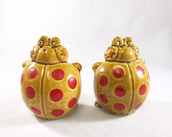 Wacky Seventies Ladybug Salt & Pepper - Vintage Made in Japan Novelty Shakers