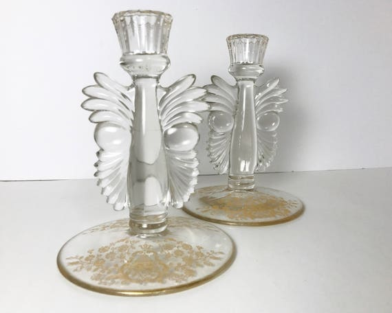 Paden City Glass - Rose Bud Gold Etch on Winged Art Deco Maya Candlestick Holders - Pair - Elegant Glass 1930s