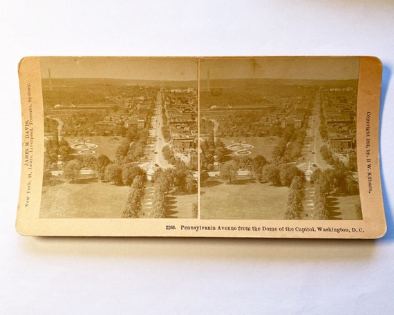 Antique B. W. Kilburn Stereoview - Pennsylvania Avenue from the Dome of the Capitol, Washington, D. C. - James M. Davis