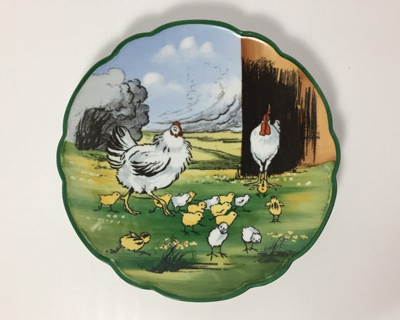 Antique Hand Painted MZ Austria Decorative Plate with Barnyard Scene of Chicken, Rooster, and Chicks - Breathtaking - Moritz Zdekauer