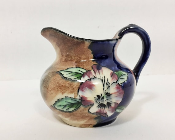 "Vintage H & K Tunstall Art Pottery Hand Painted ""Viola"" Creamer - Art Deco Small Jug - The Delicious Dozen - Harold Growcott"
