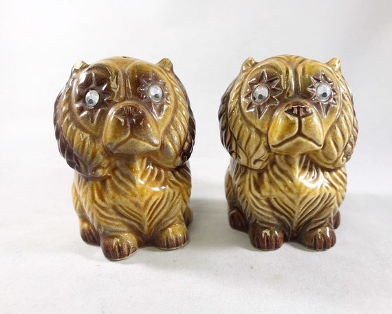 Crazy Lion Dog Salt & Pepper with Googly Eyes - Vintage Made in Japan Novelty
