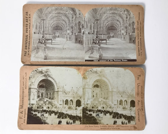 Universal Photo Art Company 2 Stereoviews -The Water Palace, Paris Exposition & The Vatican Library - Stereo Cards - Copyright  1900