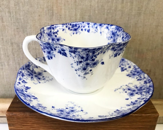 Vintage Shelley Dainty Blue Teacup and Saucer - Pretty Blue Floral Pattern on White Bone China