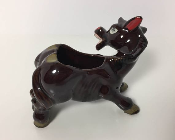Joke Novelty Ware - Two Butt Horse Ashtray - Redware - Victoria Ceramics Made in Japan