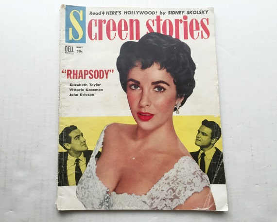 Screen Stories Magazine May 1954 - Cover Elizabeth Taylor - Vintage Movie Magazine - Inside Bob Hope & Tony Curtis